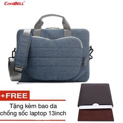 Túi đựng Laptop Macbook 13 đến 15inch CoolBell tặng bao da 13inch
