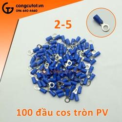 100 Đầu cos còn EV 2-5 bọc nhựa xanh