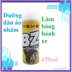Chai xịt Bz dưỡng bóng bánh xe, nhựa nhám [dung dịch làm bóng lốp xe cao su, dưỡng phục hồi nhựa nhám BZ ChainLube ]