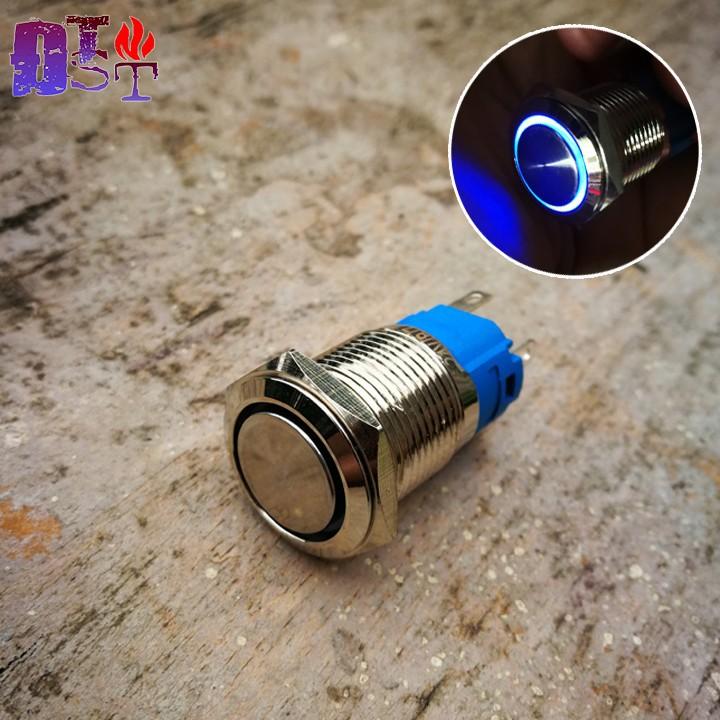 Nút nhấn giữ 16mm kim loại có đèn-Màu xanh dương