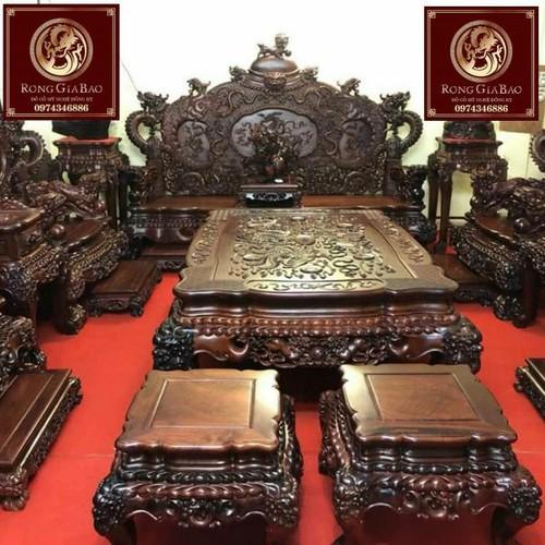 Bàn ghế Rồng đỉnh gỗ cẩm lai vip bộ 12 món  kích thước đoản 2m6.giá cực sốc khi liên hệ hôm nay