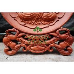 Tranh Đĩa Tròn Phật Gỗ Hương Đá Nguyên Khối Cỡ Đĩa 30Cm