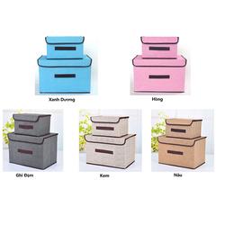 [SHIP HỎA TỐC]-Bộ 2 hộp vải đựng đồ, giỏ vải đựng đồ có quai, giỏ đựng quần áo, nhiều màu ( giao màu ngẫu nhiên) + Tặng quà ngẫu nhiên