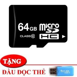 [Sốc: Siêu Deal] THẺ NHỚ 64GB -CLASS 10 - TẶNG ĐẦU ĐỌC THẺ - DÀNH CHO ĐIỆN THOẠI MÁY NGHE NHẠC
