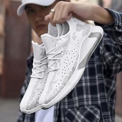 Giày Thể Thao Nam, giày sneaker nam đế cao su xẻ rãnh chông trơn trượt, thân giày có lỗ thoáng khí - Giày sneaker kiểu lười phối dây