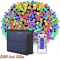 Đèn led dây năng lượng mặt trời 500 led 52m 8 kiểu nháy 4 mức sáng