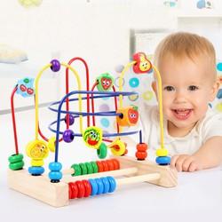 đồ chơi xâu chuỗi  hạt gỗ tư duy cho bé
