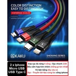 Cáp sạc đa năng 4 in 1 KAKU - Sạc nhanh 2.8A -  4 đầu - 2 cổng Lightning - USB Type-C - Micro USB