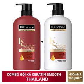 Combo Dầu gội và dầu xả dưỡng tóc TREsemme KERATIN SMOOTH 450ml/chai - GỘI+XẢ TRESEMME ĐỎ