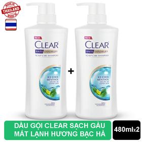 Combo 2 chai Dầu Gội Clear Bạc Hà Nhập Khẩu Thailand 480ml - 2 CLEAR BẠC HÀ.
