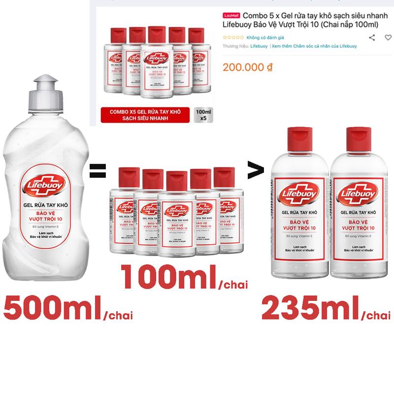 Gel Rửa Tay Khô Sạch Siêu Nhanh Lifebuoy Bảo Vệ Vượt Trội 500ml - GEL LIFEBUOY 500ml 5