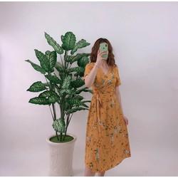Đầm xòe vải lụa hoa thắt dây eo 40_60kg