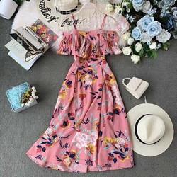 Đầm xòe vải lụa hoa