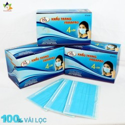 Khẩu Trang Y Tế 4 Lớp [1 hộp 50 cái], Khẩu trang y tế  Famapro Nam Anh