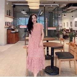 Đầm xòe vải lụa hoa đính ngọc nối viền 40_60kg