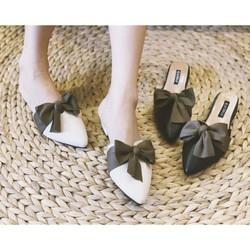 Giày sục mũi nhọn thắt nơ đế 3p siêu đẹp