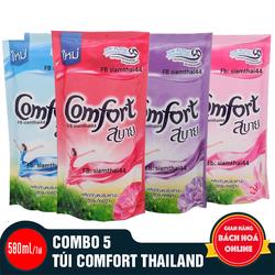Combo 5 túi nước xả vải Comfort. Thái Lan 580ml/túi