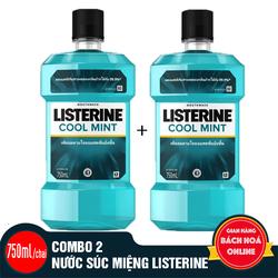 Combo 2 chai nước súc miệng Listerine Cool Mint 750ml/chai