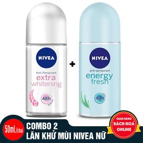 Combo 2 chai lăn khử mùi Nivea hàng nhập khẩu 50ml/chai - 2 LĂN KHỬ MÙI NIVEA NỮ