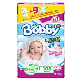 Miếng lót sơ sinh Bobby newborn 1 108 miếng tặng 9 miếng tã dán xs - bobby chinh hangg