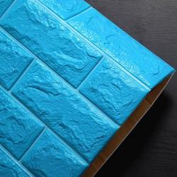 [K.Mãi 1 đơn giới hạn nhiều nhất 10sp] Giấy dán tường 3D giả gạch màu XANH 70x77