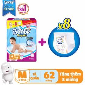 [TẶNG 8 MIẾNG] TÃ BỈM QUẦN BOBBY M62 L54 XL48 XXL44 - tã quần bobby + miếng