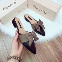 giày sục - Giày sục mũi nhọn thắt nơ đế 3p siêu đẹp