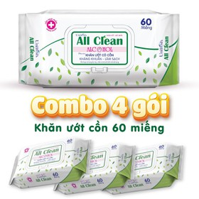 Combo 4 gói khăn ướt có cồn Unifresh All Clean Alcohol 60 tờ _ khăn ướt sạch khuẩn - AL-60-4