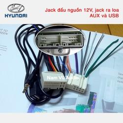 Dây cáp jack âm thanh kết nối AUX và USB đầu cd ô tô Hyundai
