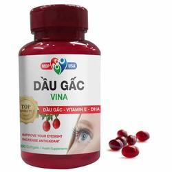 Thực phẩm Dầu Gấc Vina - Bổ sung dưỡng chất cần thiết cho mắt, tăng cường thị lực - Lọ 200 viên