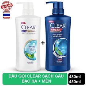 Bộ 2 Chai dầu gội Clear Bạc Hà 480ml và Clear Men 450ml nhập khẩu Thái Lan - CLEAR MEN+ CLEAR BẠC HÀ