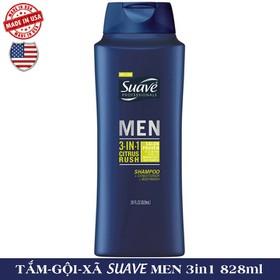 Sữa tắm, Gội và Xả SUAVE MEN USA 3in1 828ml  - TẮM SUAVE MEN