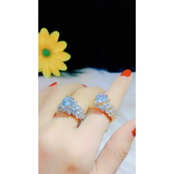 Nhẫn nữ màu vàng 18 đính xoàn màu bạch kim cao cấp