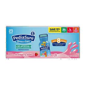 Thùng Sữa nước Pediasure Grow & Gain Optigro Strawberry Shake 237ml (vị dâu) mẫu mới 2020 Của Mỹ 24 chai - Pediasure Grow & Gain Optigro