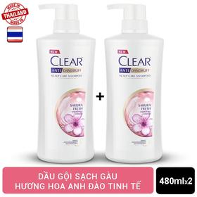 Combo 2 chai Dầu gội Clear Hoa Anh Đào nhập khẩu Thái Lan 480ml/chai - 2 CLEAR ANH ĐÀO