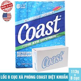 Lốc 8 cục xà phòng Coast USA 113g/cục - LỐC 8 CỤC COAST