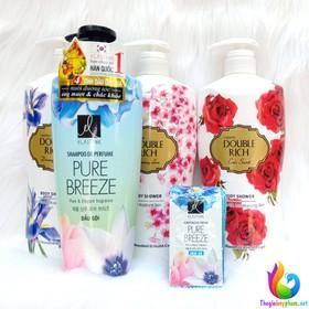 Combo Dầu Gội Elastine Pure Breeze 600ml + Sữa Tắm Hoa Hồng Double Rich 800g - Tặng 1 Dây Dầu Xả Elastine - 0484