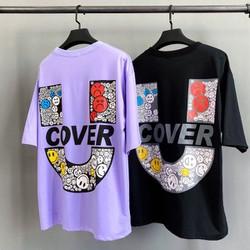 Áo thun oversize Uncover Đen , Tím - Áo phông nam nữ thời trang unisex hot trend - Tee Uncover Over Uncover