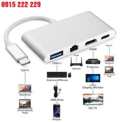 Cáp Chuyển Đổi USB Type C Sang HDMI, Hub USB Và Cổng Lan - Kết nối macbook với mạng lan, chuột bàn phím, điện thoại, tivi, máy chiếu