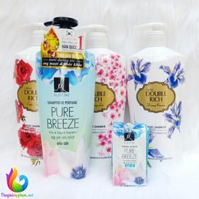 Combo Dầu Gội Elastine Pure Breeze 600ml + Sữa Tắm Hoa Iris Double Rich 800g - Tặng 1 Dây Dầu Xả Elastine - 0486