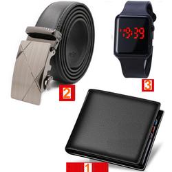 Combo Ví nam 5 ngăn ví mền cầm rất thích + Thắt lưng hàng chuẩn đẹp hàng Hot mới nhất + Đồng hồ Led táo pro ot