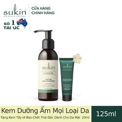 [Combo] Kem Dưỡng Ẩm Sukin Facial Moisturiser 125ml Tặng Kem Tẩy tế Bào Chết Thải Độc Dành Cho Da Mặt Sukin Super Greens Detoxifying Facial Scrub 20ml