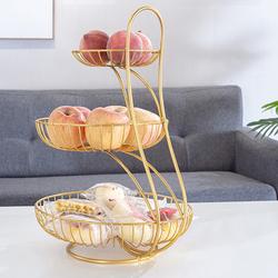 Giỏ trái cây 3 tầng - Khay trái cây vàng cao cấp