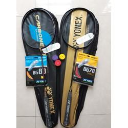 Combo 2 vợt cầu lông yonex khung carbon (Tặng 1 lần căng dây và quấn cán)