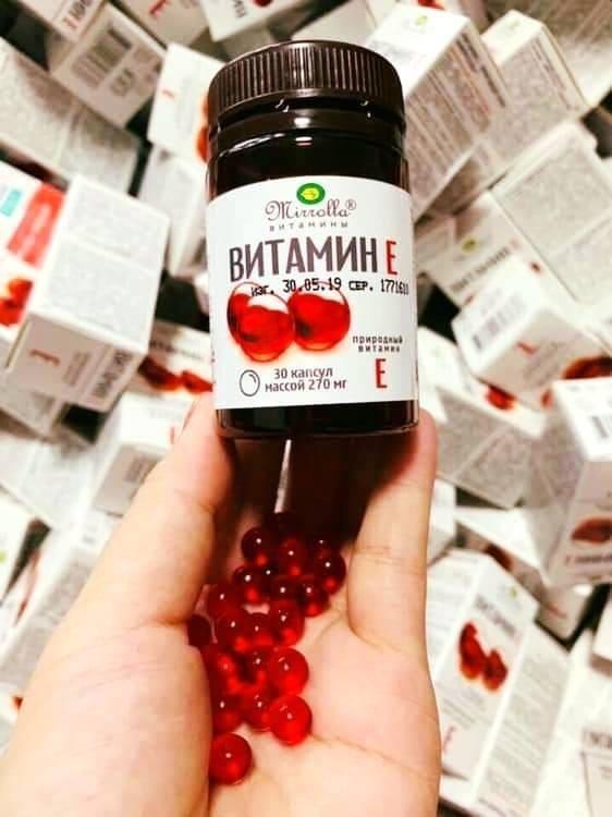 Vitamin E đỏ Mirrolla hộp 30 viên Chính Hãng - Vitamin E đỏ dạng lọ Nga 1