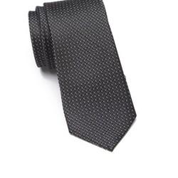 Cravat 100 lụa Ben Sherman đen họa tiết xám - trắng nhỏ