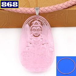 Vòng cổ Văn Thù Bồ Tát 3.6 cm pha lê hồng