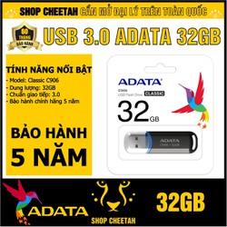 USB 3.0 ADATA. 32GB - Classic C906 – Màu đen  – CHÍNH HÃNG – Bảo hành 5 năm