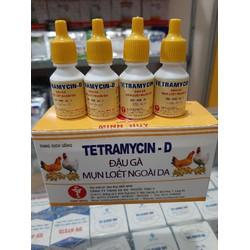 10 lọ Tetramycin D 10ml trị Đậu gà, mụn loét ngoài da