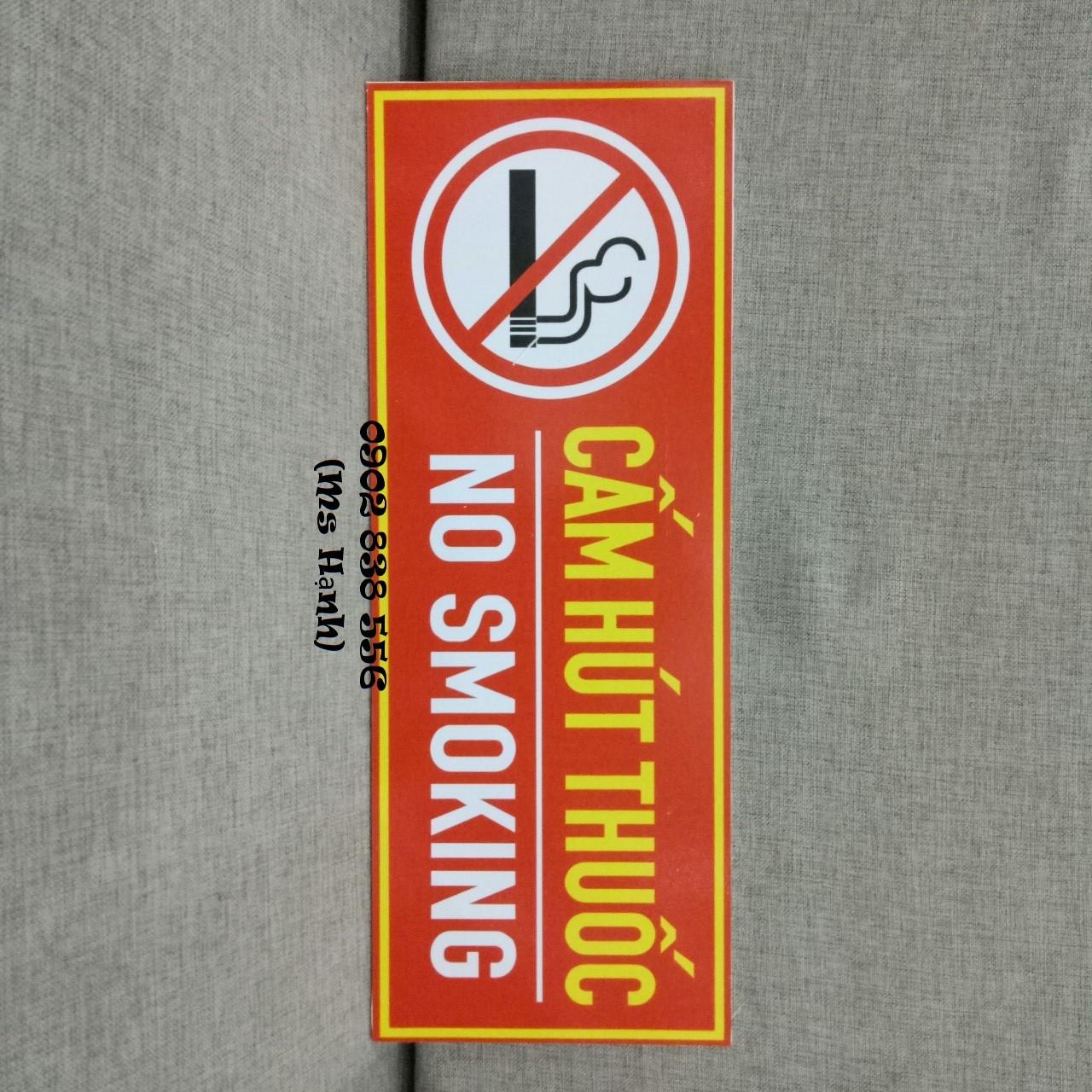 Hình ảnh Giảm giá - Biển báo Fomex dán decal Cấm hút thuốc kích thước 15 x 40cm - hình thật